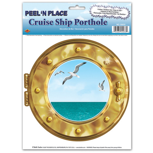 """Club Pack of 12 Gold and Blue Cruise Ship Porthole Peel N Place Decors 15"""" - IMAGE 1"""