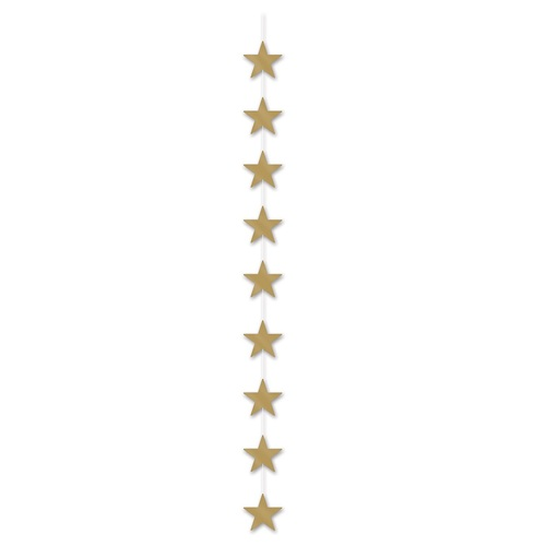 Club Pack of 12 Metallic Gold Star Stringer Hanging Party Decorations 6.5' - IMAGE 1