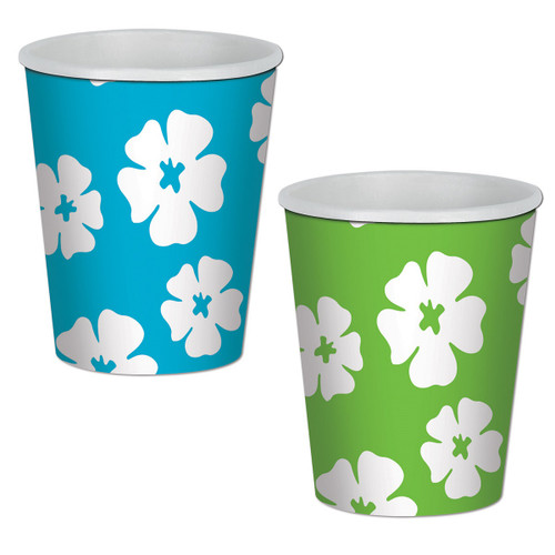 Club Pack of 96 Blue and Green Hibiscus Disposable Paper Drinking Party Tumbler Cups 9 oz. - IMAGE 1