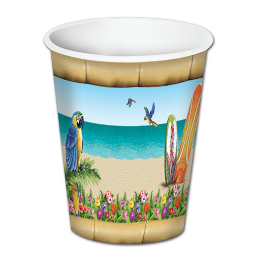 Club Pack of 96 Blue and Green Paradise Disposable Paper Drinking Party Tumbler Cups 8 oz. - IMAGE 1
