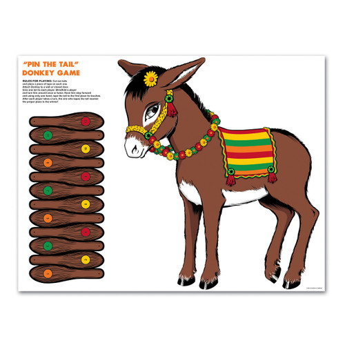 Club Pack of 24 Brown Traditional Pin the Tail on the Donkey Party Games - IMAGE 1