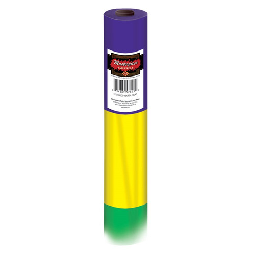 100' Purple, Gold and Green Mardi Gras Disposable Plastic Banquet Party Table Roll - IMAGE 1