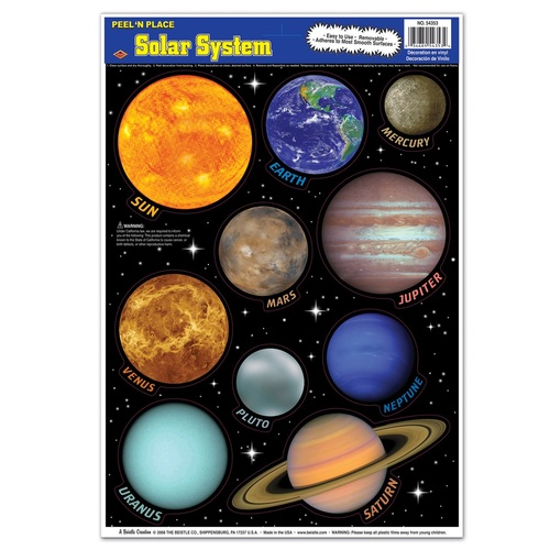 """Club Pack of 120 Vibrantly Colored Peel 'N Place Solar System Decors 17"""" - IMAGE 1"""