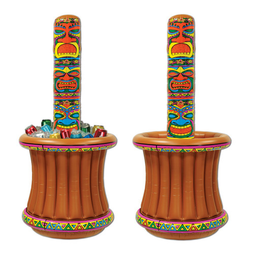 """Pack of 6 Brown and Yellow Giant Inflatable Tiki Totem Pole Luau Party Drink Cooler 62"""" - IMAGE 1"""