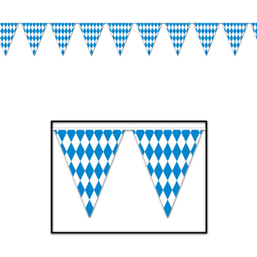 Club Pack of 12 Blue and White Oktoberfest Pennant Banner Hanging Party Decorations 12' - IMAGE 1