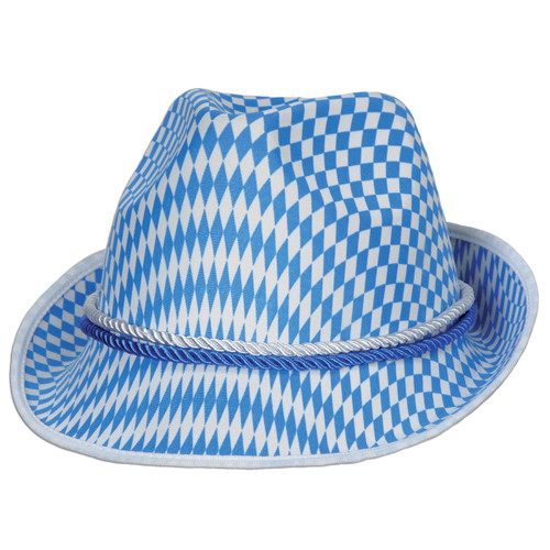 Pack of 12 Blue and White Unisex Adult Harlequin Oktoberfest Alpine Party Hat - One Size - IMAGE 1