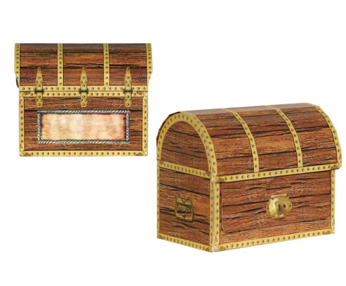 """Club Pack of 12 Brown Pirate Birthday Party Treasure Chest Favor and Treat Boxes 4.25"""" - IMAGE 1"""