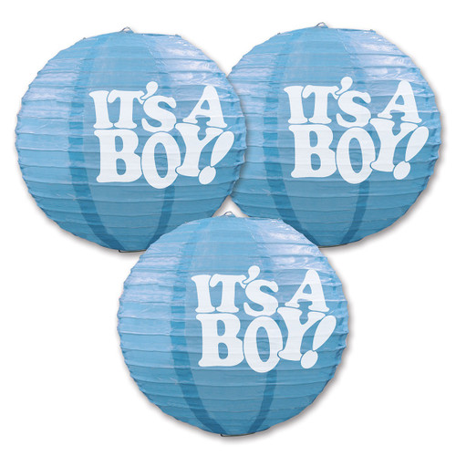 """Club Pack of 18 Blue and White """"IT'S A BOY!"""" Paper Lantern Hanging Party Decors 9.5"""" - IMAGE 1"""