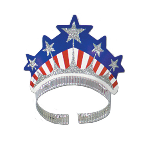 Club Pack of 72 Blue and Silver Patriotic Miss Liberty Tiara Women Adult Costume Accessories - One Size - IMAGE 1