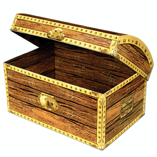 """Club Pack of 12 Brown and Gold Pirate Birthday Party Treasure Chest Box Decors 8"""" - IMAGE 1"""