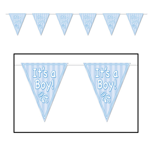 """Club Pack of 12 Blue and White """"It's a Boy!"""" Baby Shower Party Hanging Banners 144"""" - IMAGE 1"""