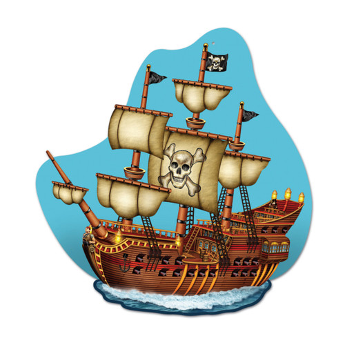 """Club Pack of 12 Blue and Brown Pirate Ship Birthday Party Wall Plaque Decors 15"""" - IMAGE 1"""