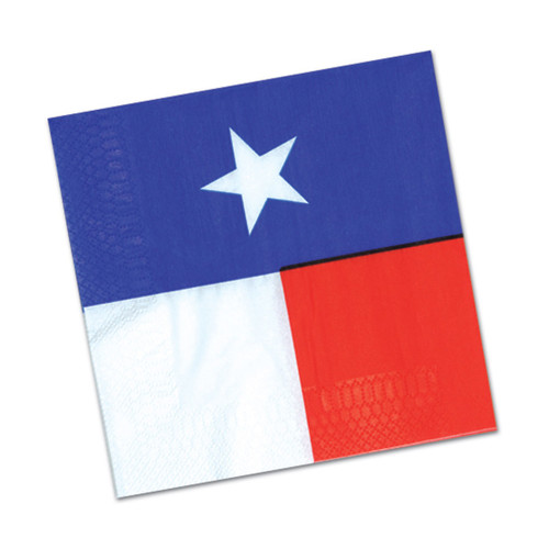 """Club Pack of 192 Blue and Red Texas Star Disposable Luncheon Party Napkins 6.5"""" - IMAGE 1"""