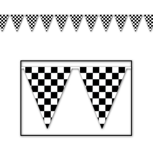 Club Pack of 12 Black and White Checkered Pennant Banner Hanging Decors 12' - IMAGE 1