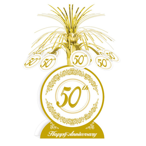 """Club Pack of 12 Gold and White 50th Happy Anniversary Table Centerpiece Decors 13"""" - IMAGE 1"""