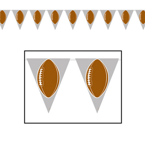 Pack of 12 Brown American Football Game Day Tailgating Pennant Banners 12' - IMAGE 1