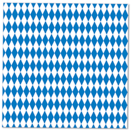 """Club Pack of 192 Blue and White Oktoberfest Disposable Luncheon Party Napkins 6.5"""" - IMAGE 1"""