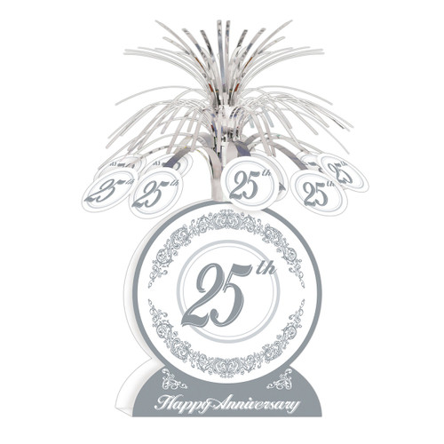 """Club Pack of 12 Silver and Gray 25th Happy Anniversary Table Centerpiece Decors 13"""" - IMAGE 1"""