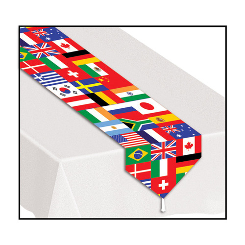 Club Pack of 12 Vibrantly Colored International Flag Table Runner 6' - IMAGE 1