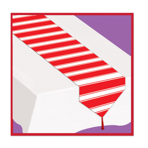 Club Pack of 12 Red and White Striped Carnivalesque Table Runners 6' - IMAGE 1