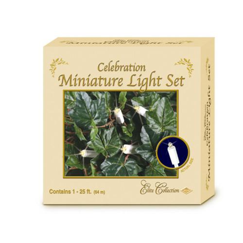 100-Count Clear Elite Celebration Miniature Party Light Set, 25ft White Wire - IMAGE 1