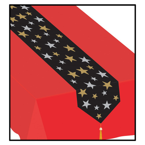 Club Pack of 12 Black and Gold Star Patterned Disposable Banquet Party Table Runners 6' - IMAGE 1