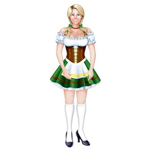 """Pack of 12 Brown and White German Oktoberfest Fraulein Woman Jointed Figure Cutouts 38"""" - IMAGE 1"""