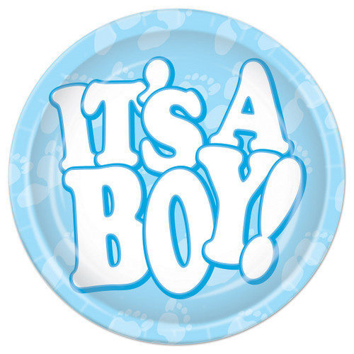 """Club Pack of 96 Blue and White Disposable """"IT'S A BOY!"""" Paper Party Banquet Dessert Plates 7"""" - IMAGE 1"""