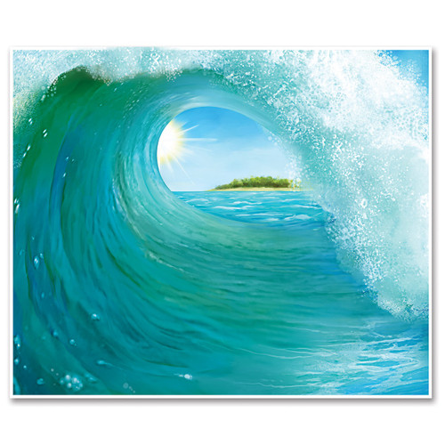 Pack of 6 Blue Tunnel Surf Wave Mural Photo Backdrop Wall Decor 6' - IMAGE 1
