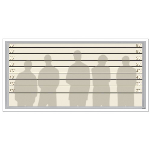 """Pack of 6 Beige and Black Criminal Line Up Photo Party Backdrop Decors 62"""" - IMAGE 1"""