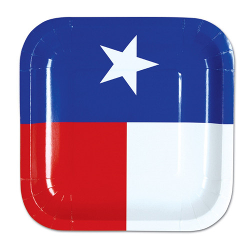 """Club Pack of 96 Blue and Red Disposable Texas State Flag Paper Party Banquet Dessert Plates 7"""" - IMAGE 1"""