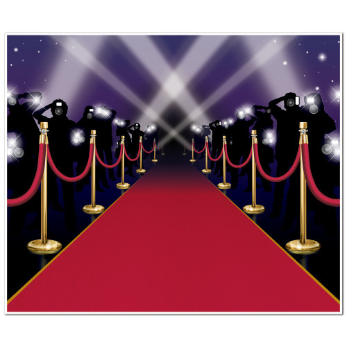 Pack of 6 Black and Red Paparazzi Mural Photo Backdrop Wall Decor 6' - IMAGE 1