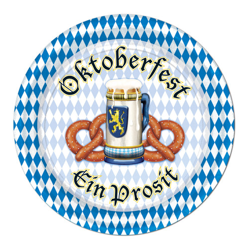 """Club Pack of 96 Blue and White Disposable Oktoberfest Paper Party Banquet Dessert Plates 7"""" - IMAGE 1"""