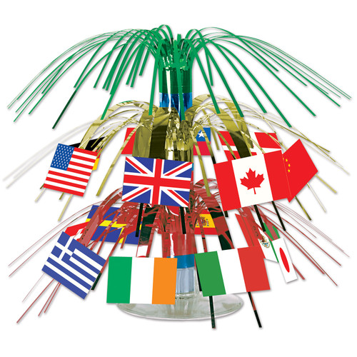 """Club Pack of 12 Green and Red International Flag Mini Cascading Party Table Centerpieces 7.5"""" - IMAGE 1"""
