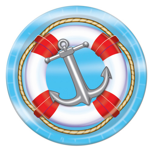 """Club Pack of 96 Blue and Red Disposable Nautical Life Preserver Paper Party Dessert Plates 7"""" - IMAGE 1"""