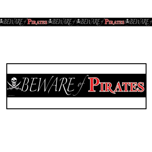 Club Pack of 12 Black and Red Beware of Pirates Party Tape Streamers Decors 20' - IMAGE 1