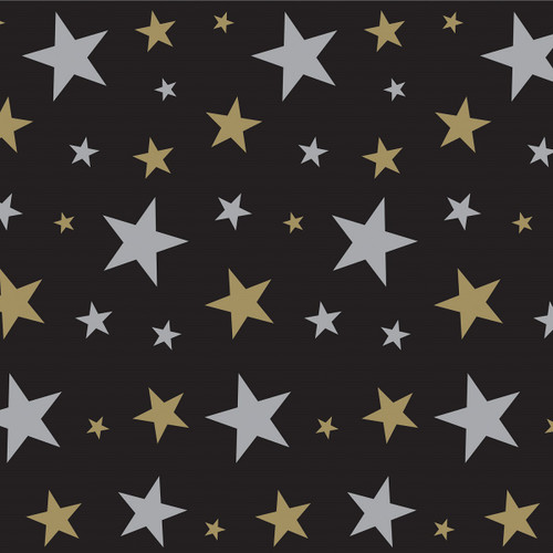 Pack of 6 Jet Black and Gold Stars Photo Backdrop Wall Decor 30' - IMAGE 1