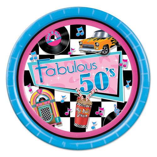 """Pack of 96 Vibrantly Colored Retro Fabulous 50's Disposable Dinner Plates 9"""" - IMAGE 1"""