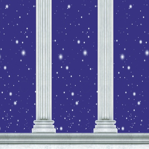 Pack of 6 Blue Stars and Columns Backdrop Wall Decor 30' - IMAGE 1