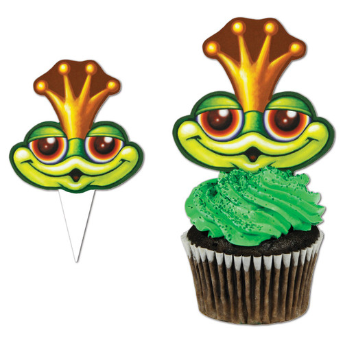 """Club Pack of 12 Green and Red Frog Faced Cupcake Food or Decoration Party Picks 4"""" - IMAGE 1"""