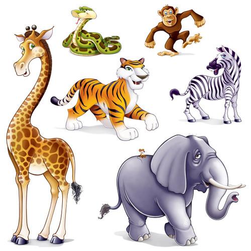 "Club Pack of 72 Multi-Color Jubilant Jungle Animal Photo Prop Decor 64"" - IMAGE 1"