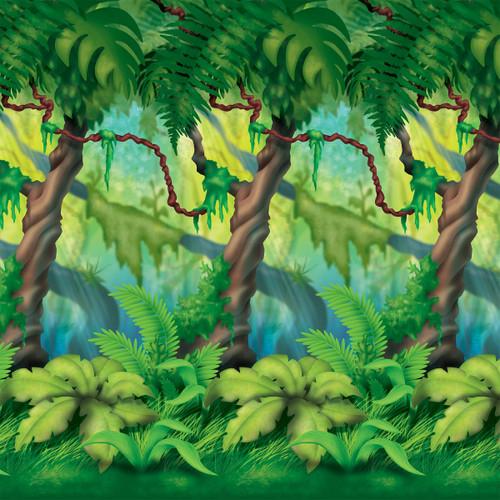 Pack of 6 Green Jungle Bush Photo Backdrop Wall Decor 30' - IMAGE 1
