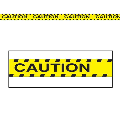 Club Pack of 12 Yellow and Black Caution Party Tape Streamers Decors 20' - IMAGE 1