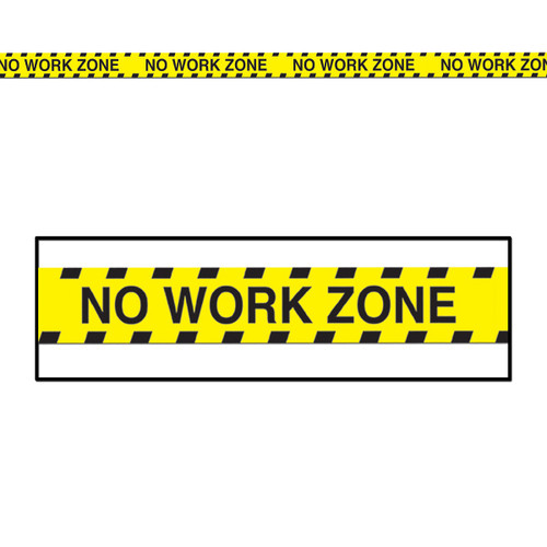 Club Pack of 12 Yellow and Black No Work Zone Party Tape Party Streamers Decors 20' - IMAGE 1