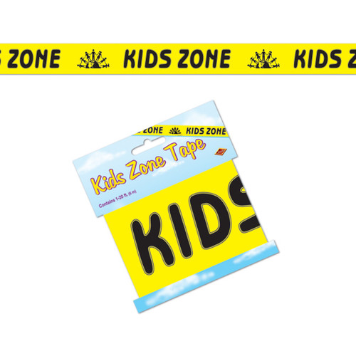 Club Pack of 12 Yellow and Black Kids Zone Party Tape Streamers Decors 20' - IMAGE 1