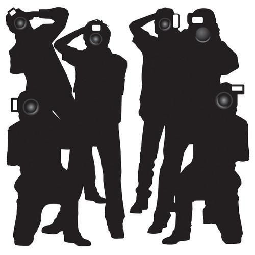 "Club Pack of 24 Black Paparazzi Photographers Wall Decor 66"" - IMAGE 1"