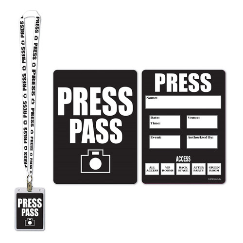 """Club Pack of 12 Black and White Award Night Press Pass Cards with Lanyard Card Holder 25"""" - IMAGE 1"""