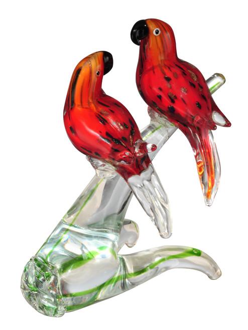 "8.75"" Pink and Black Love Birds Hand Blown Figurine - IMAGE 1"