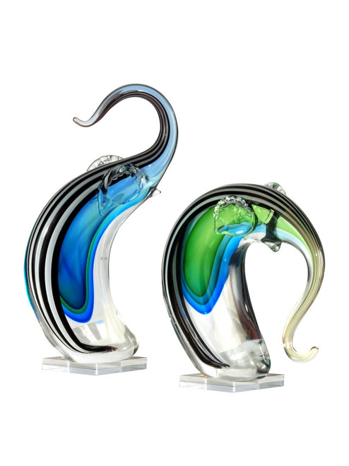 """Set of 2 Blue and Green Elephant Hand Blown Figurines 7.25"""" - IMAGE 1"""