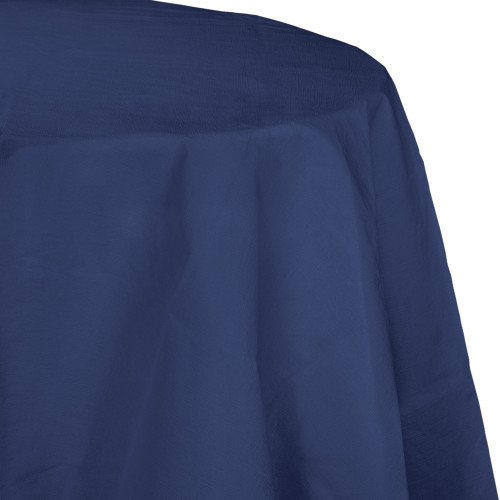 """Club Pack of 12 Navy Blue Disposable Round Party Table Covers 82"""" - IMAGE 1"""